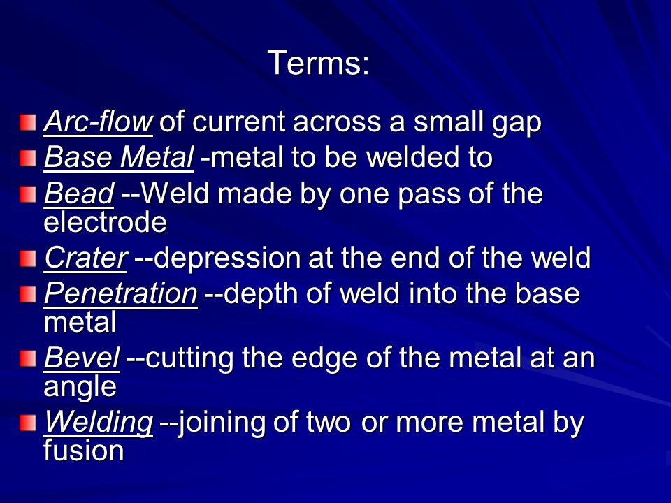 Terms: Arc-flow of current across a small gap