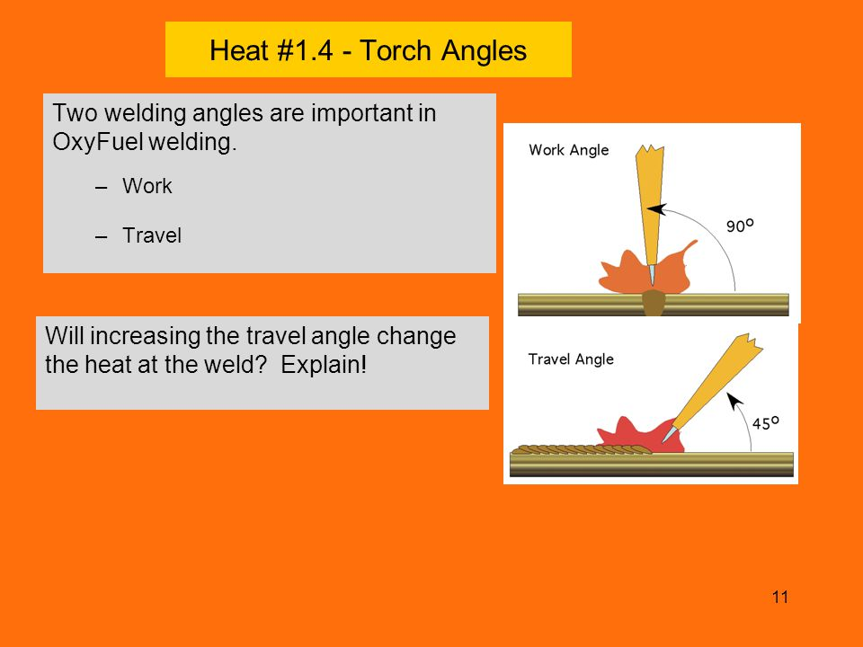 Heat #1.4 - Torch Angles Two welding angles are important in OxyFuel welding. Work. Travel.