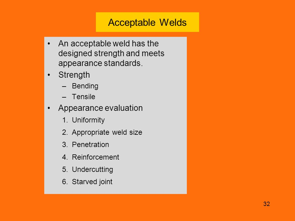Acceptable Welds An acceptable weld has the designed strength and meets appearance standards. Strength.