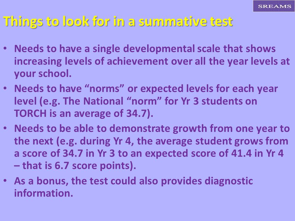 Things to look for in a summative test