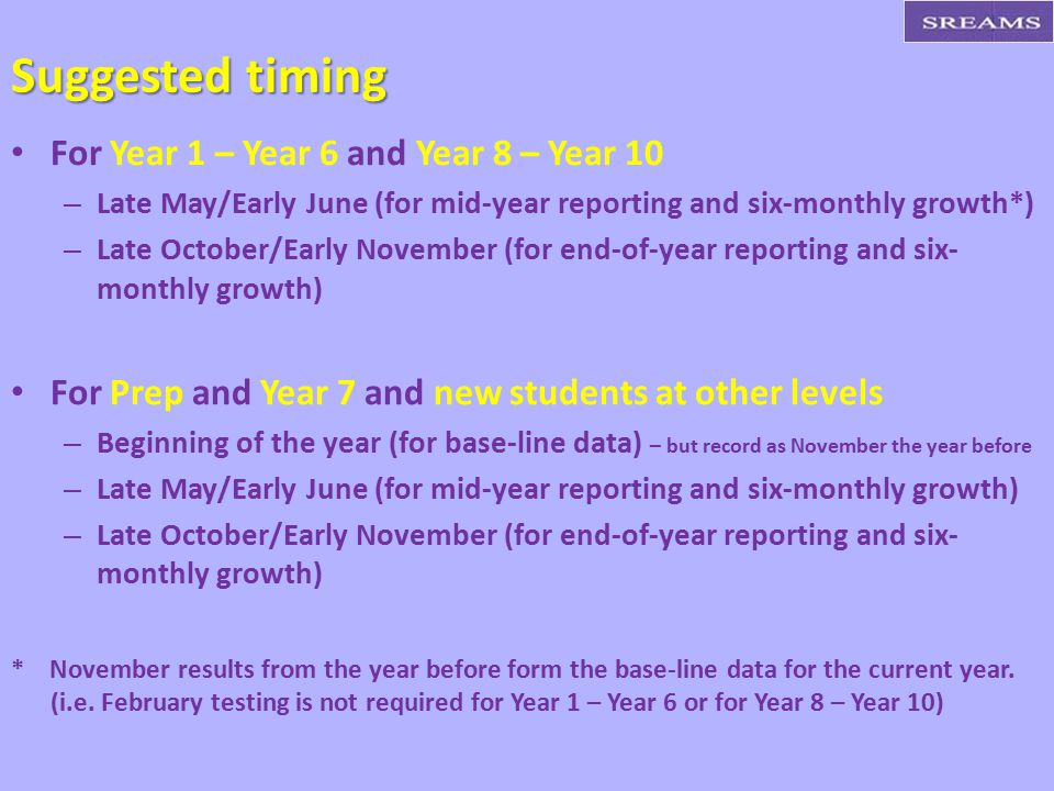 Suggested timing For Year 1 – Year 6 and Year 8 – Year 10
