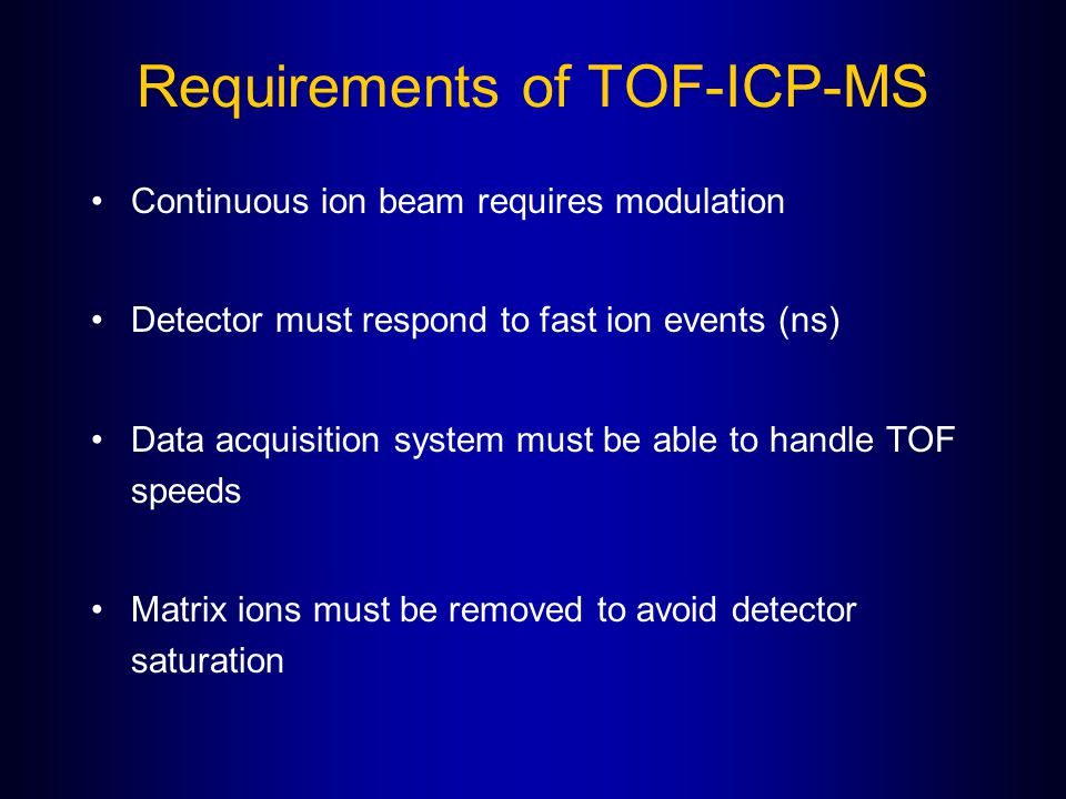 Requirements of TOF-ICP-MS