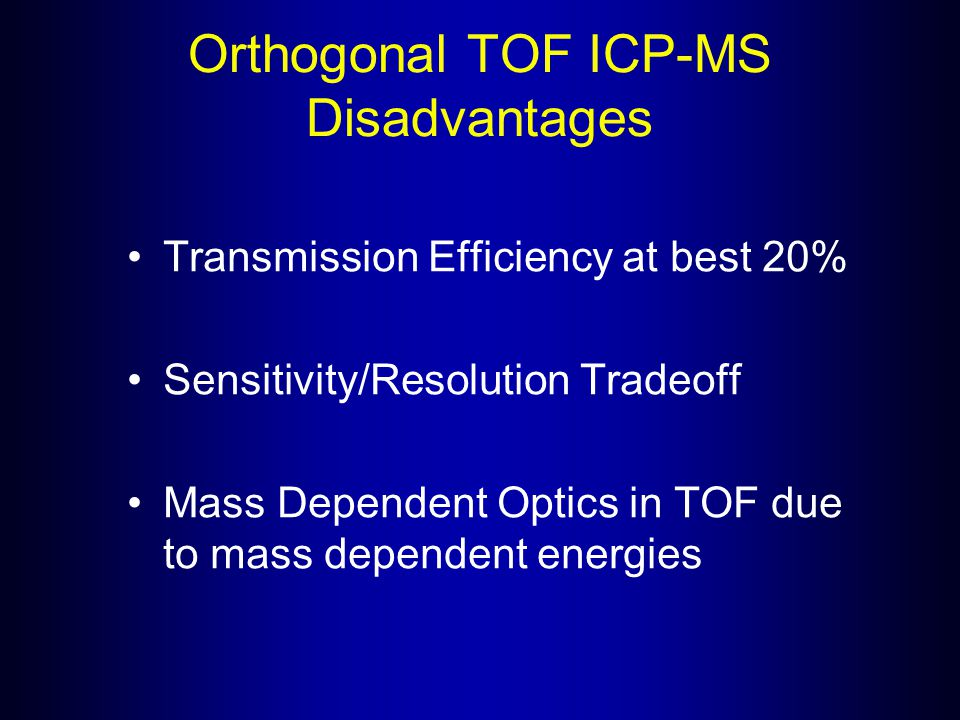 Orthogonal TOF ICP-MS Disadvantages