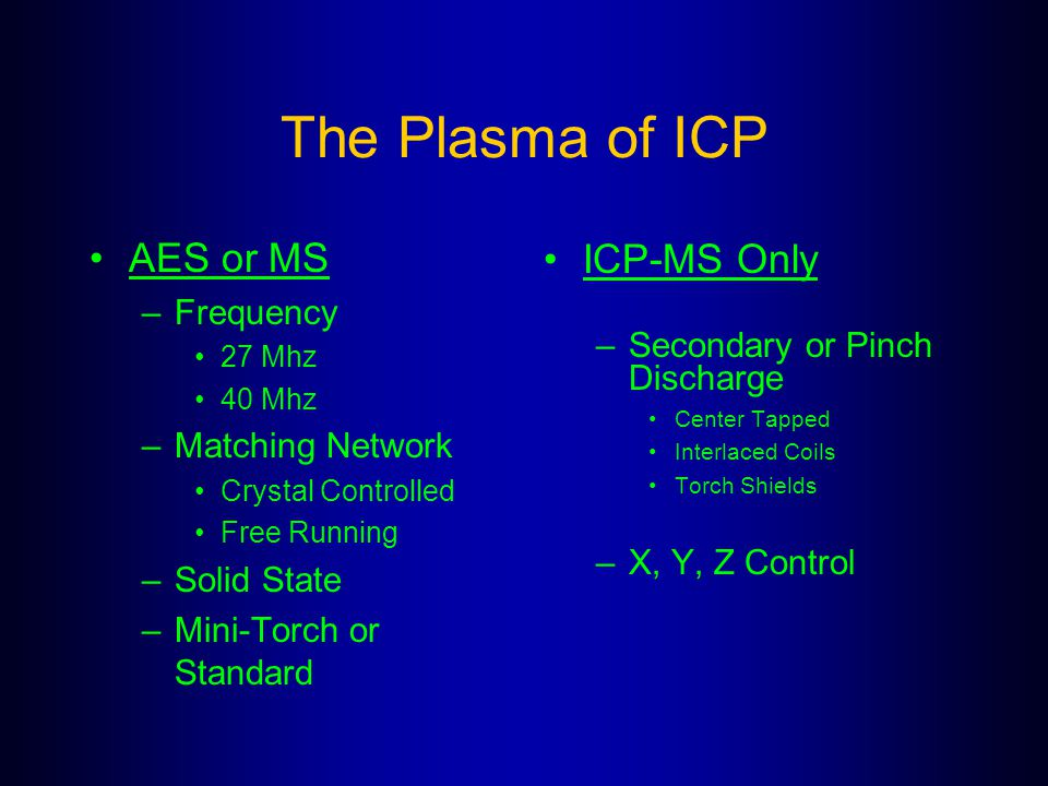The Plasma of ICP AES or MS ICP-MS Only Frequency