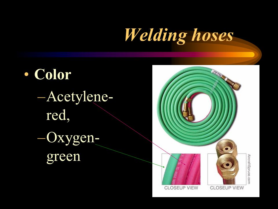 Welding hoses Color Acetylene-red, Oxygen-green