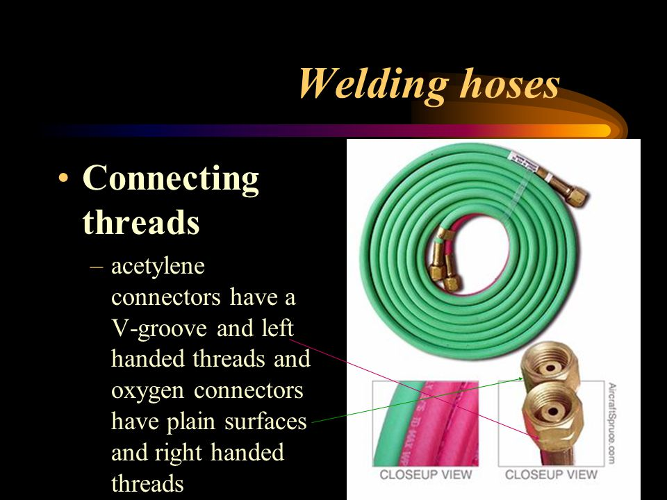 Welding hoses Connecting threads