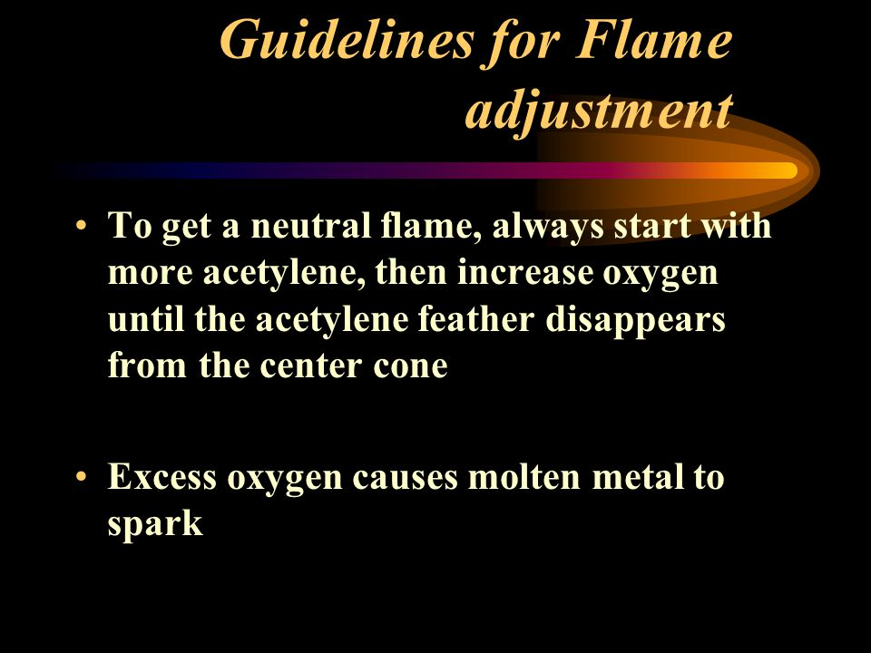 Guidelines for Flame adjustment