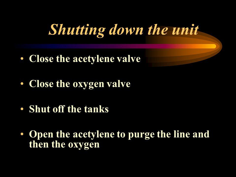Shutting down the unit Close the acetylene valve