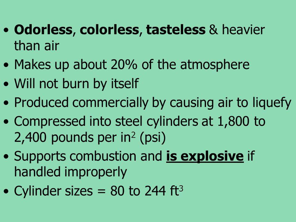 Odorless, colorless, tasteless & heavier than air