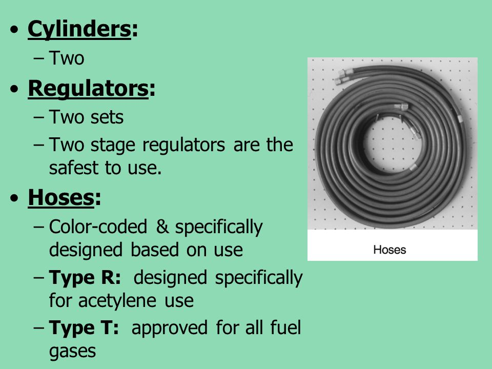 Cylinders: Regulators: Hoses: Two Two sets