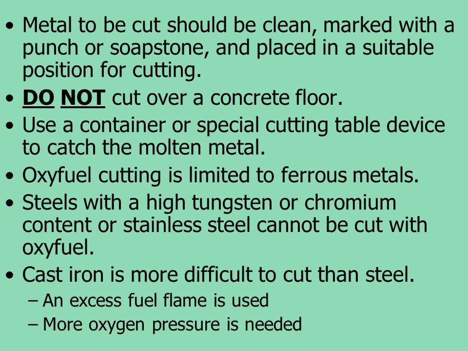 DO NOT cut over a concrete floor.