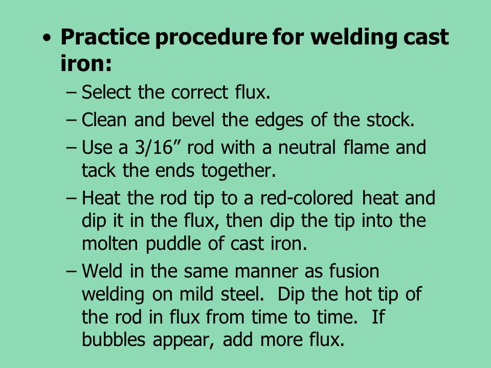 Practice procedure for welding cast iron: