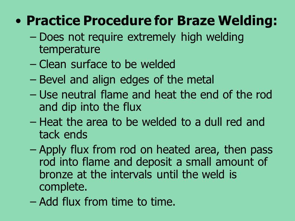 Practice Procedure for Braze Welding: