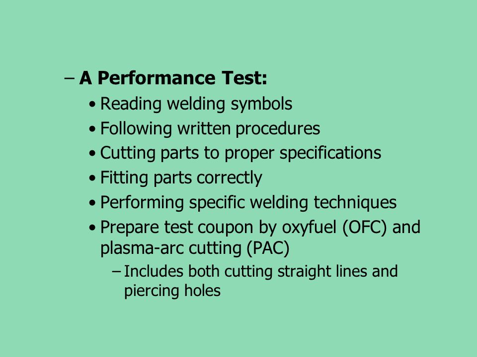 A Performance Test: Reading welding symbols