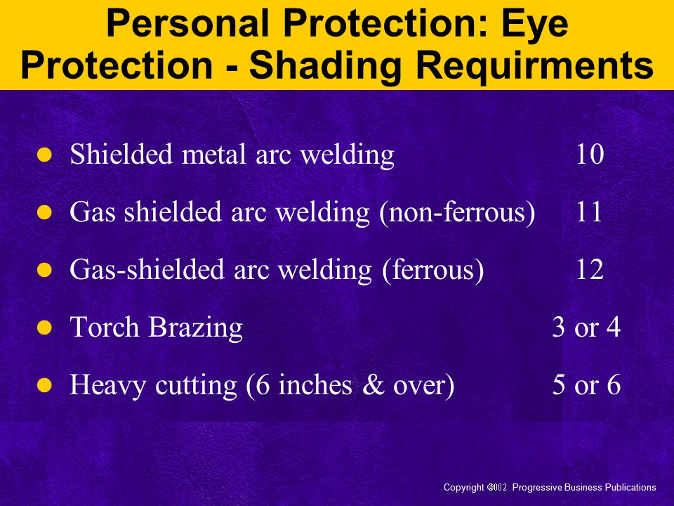 Personal Protection: Eye Protection - Shading Requirments