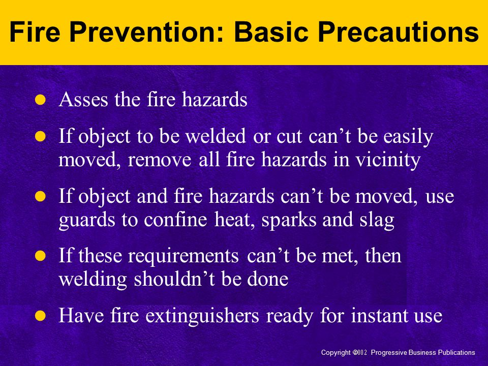 Fire Prevention: Basic Precautions
