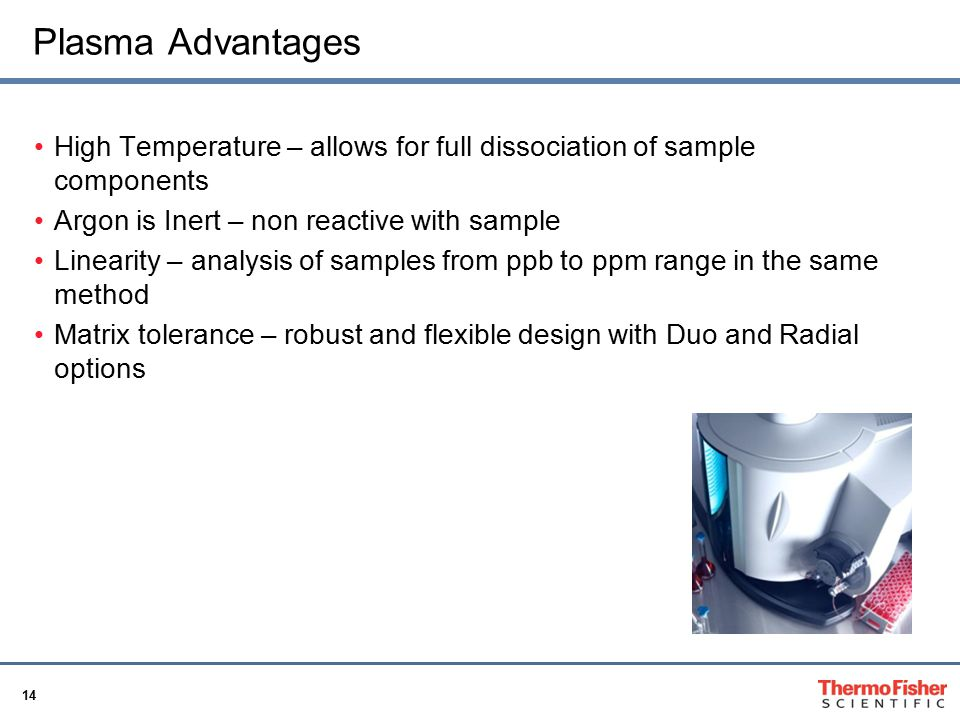Plasma Advantages High Temperature – allows for full dissociation of sample components. Argon is Inert – non reactive with sample.