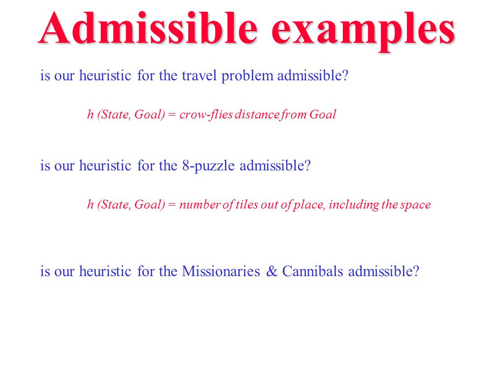 Admissible examples is our heuristic for the travel problem admissible h (State, Goal) = crow-flies distance from Goal.