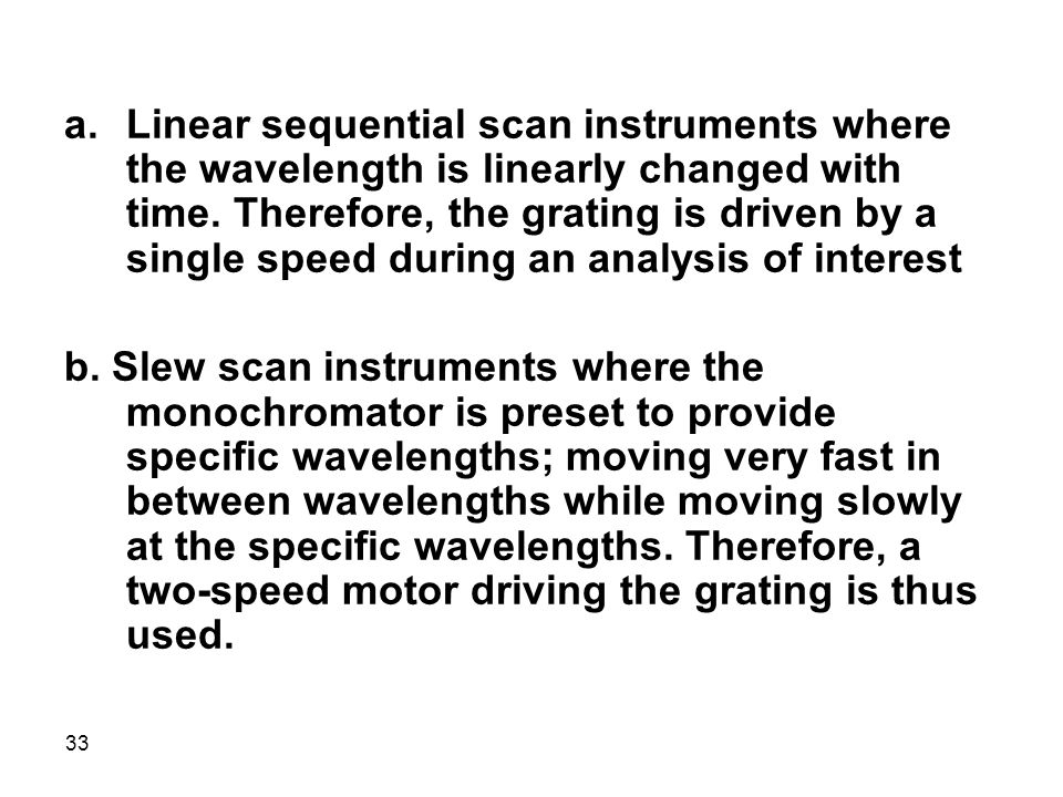 Linear sequential scan instruments where the wavelength is linearly changed with time. Therefore, the grating is driven by a single speed during an analysis of interest