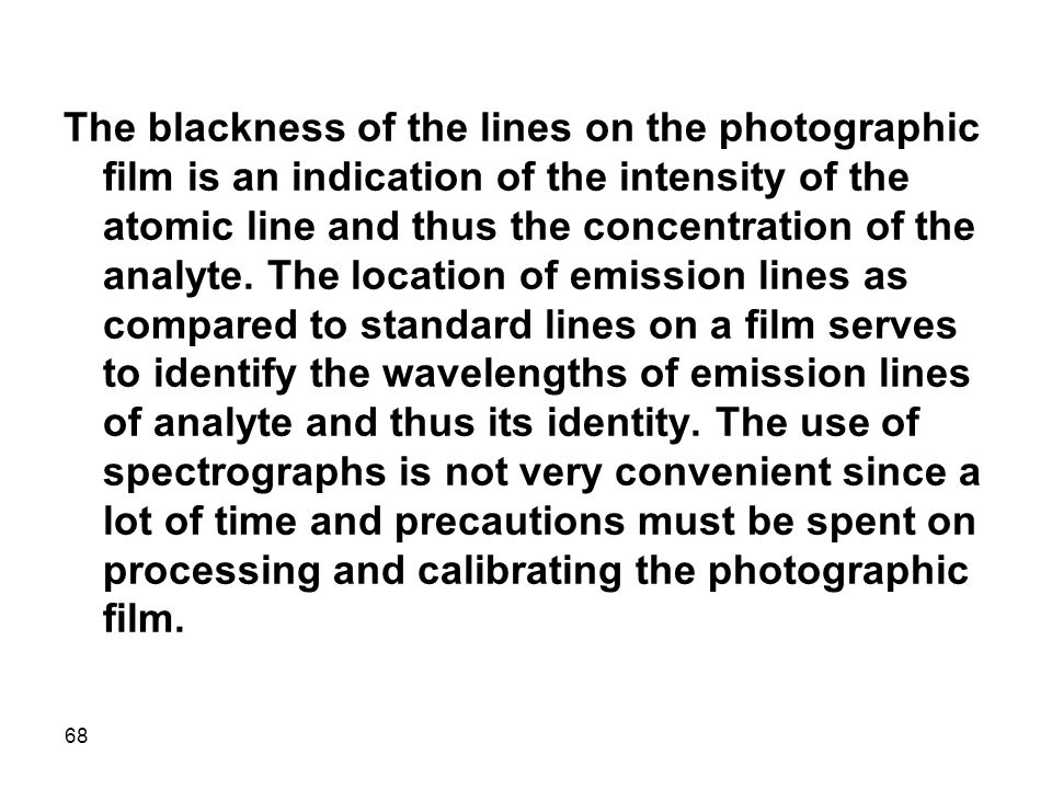 The blackness of the lines on the photographic film is an indication of the intensity of the atomic line and thus the concentration of the analyte.