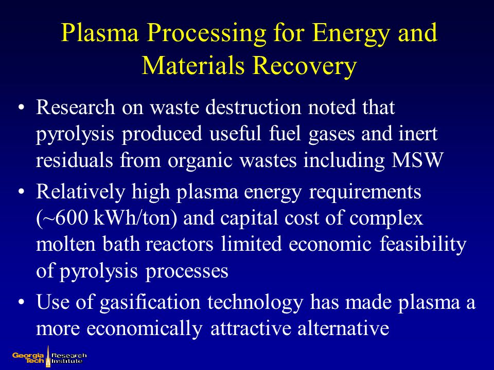 Plasma Processing for Energy and Materials Recovery