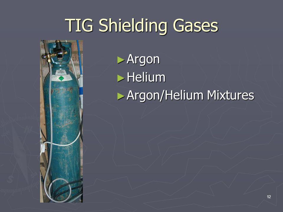 TIG Shielding Gases Argon Helium Argon/Helium Mixtures