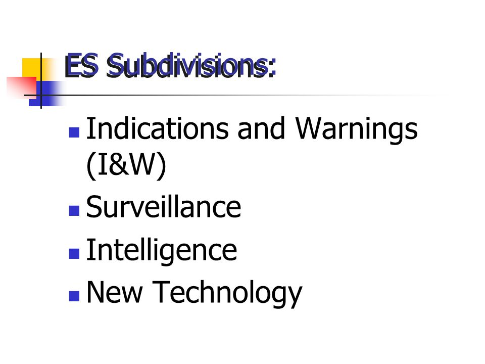 ES Subdivisions: Indications and Warnings (I&W) Surveillance Intelligence New Technology