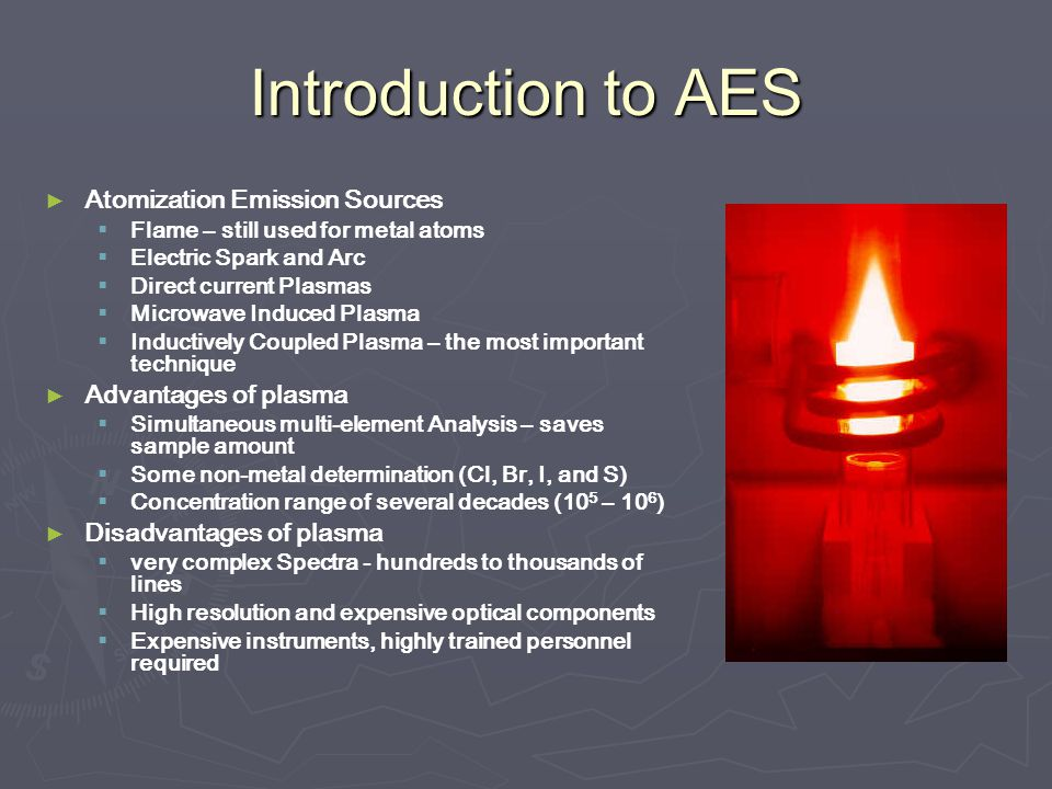 Introduction to AES Atomization Emission Sources Advantages of plasma