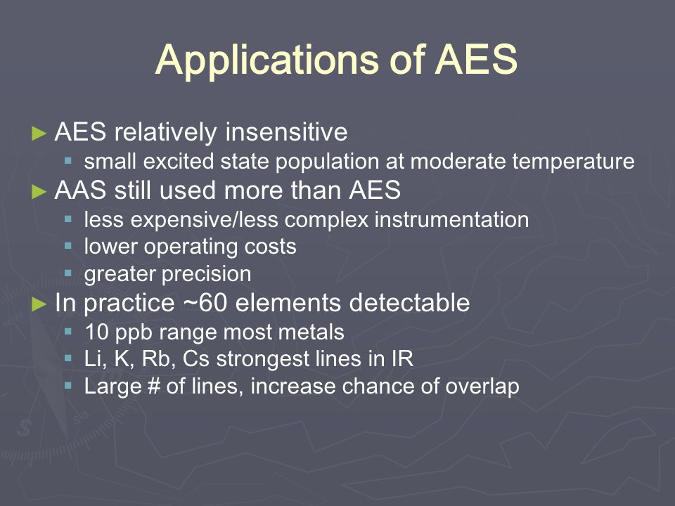 Applications of AES AES relatively insensitive