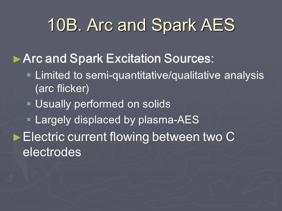 10B. Arc and Spark AES Arc and Spark Excitation Sources: