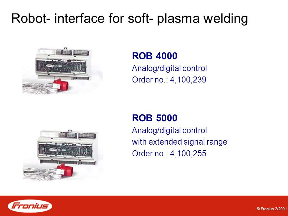 Robot- interface for soft- plasma welding