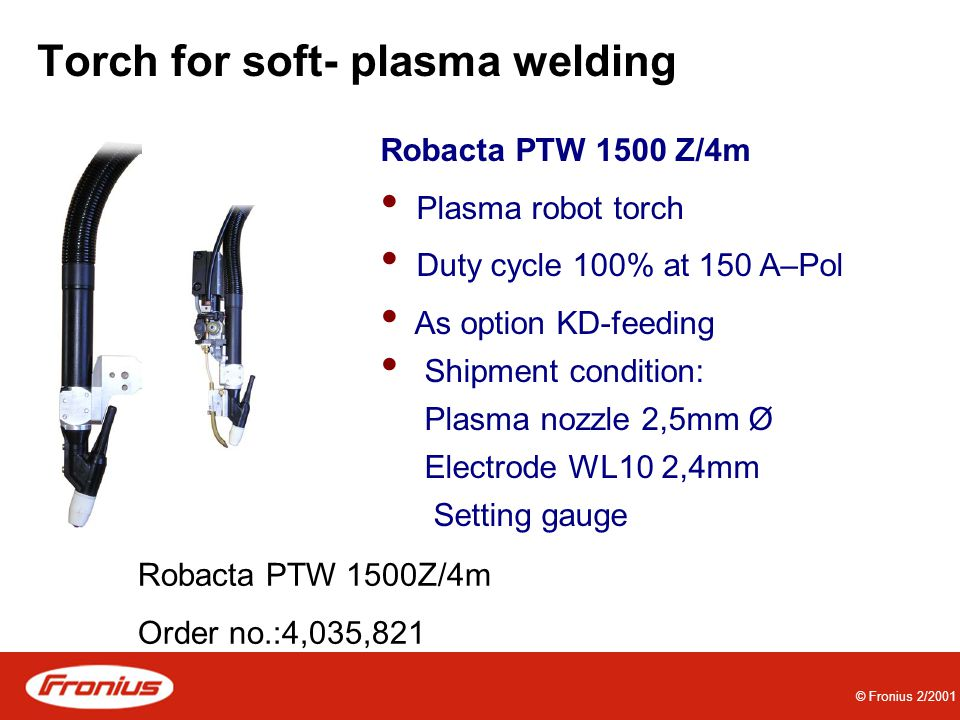 Torch for soft- plasma welding