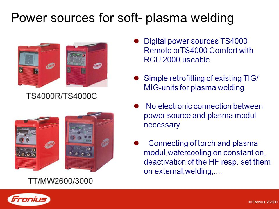 Power sources for soft- plasma welding