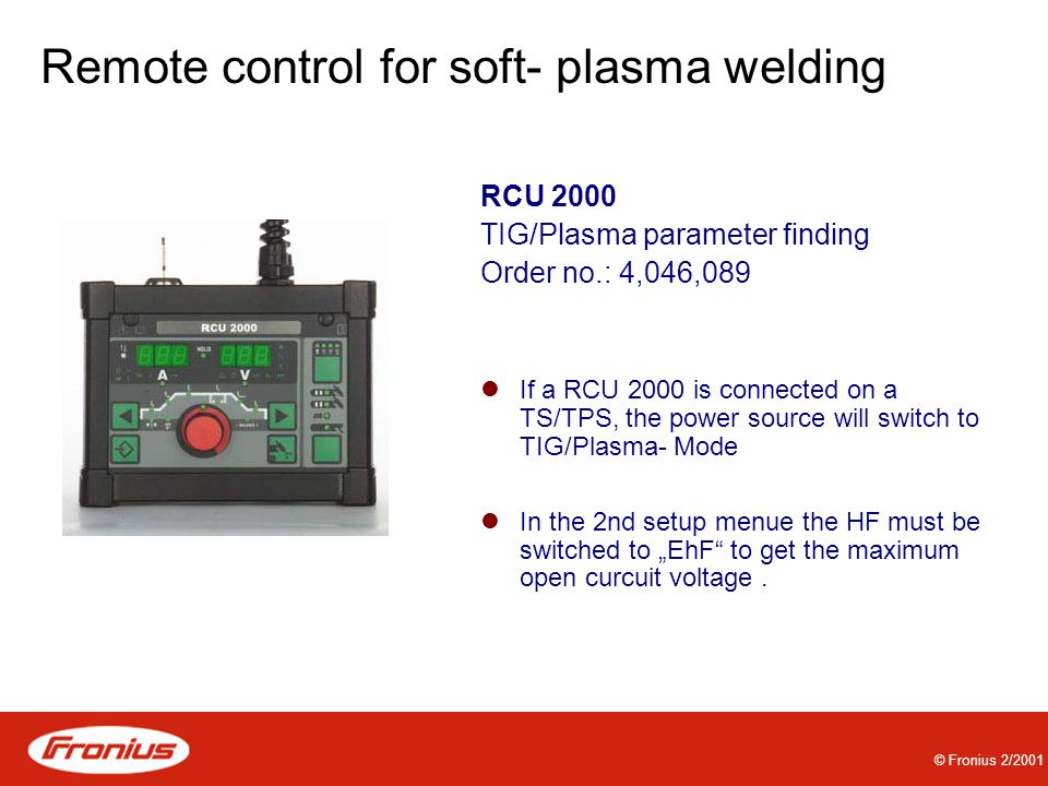 Remote control for soft- plasma welding