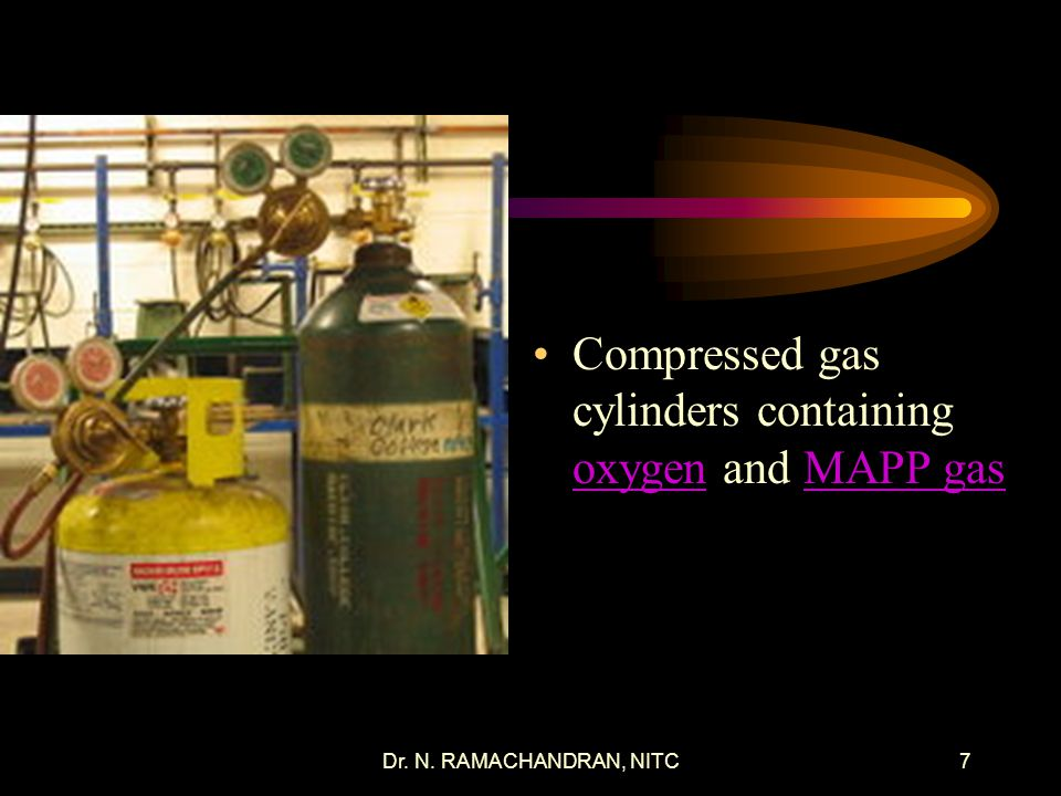 Compressed gas cylinders containing oxygen and MAPP gas