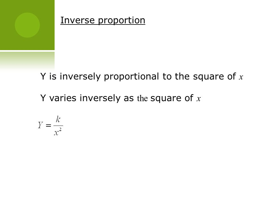Inverse proportion Y is inversely proportional to the square of x.
