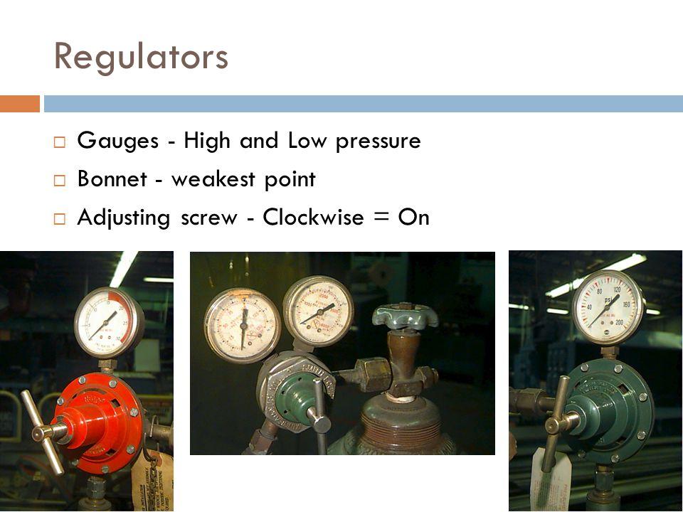 Regulators Gauges - High and Low pressure Bonnet - weakest point