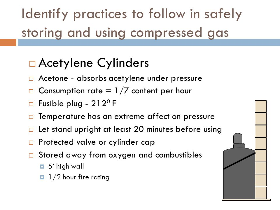 Identify practices to follow in safely storing and using compressed gas