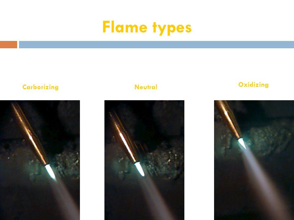 Flame types Oxidizing Carborizing Neutral