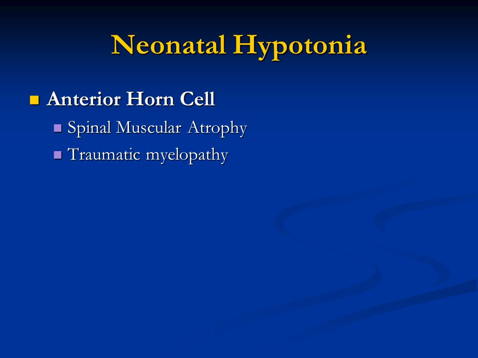 Neonatal Hypotonia Anterior Horn Cell Spinal Muscular Atrophy