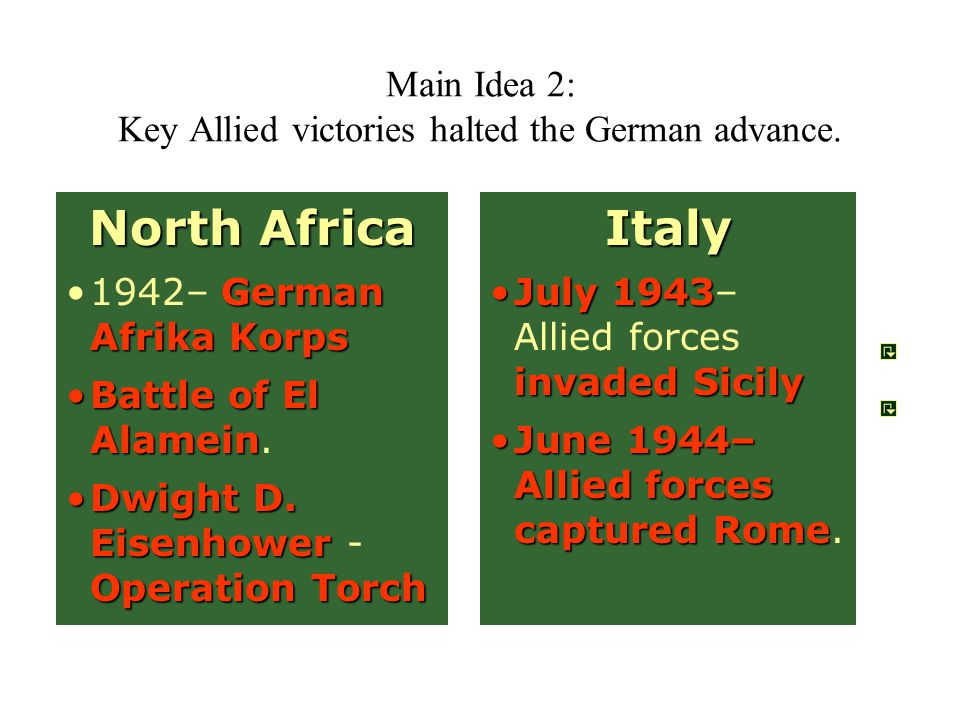 Main Idea 2: Key Allied victories halted the German advance.