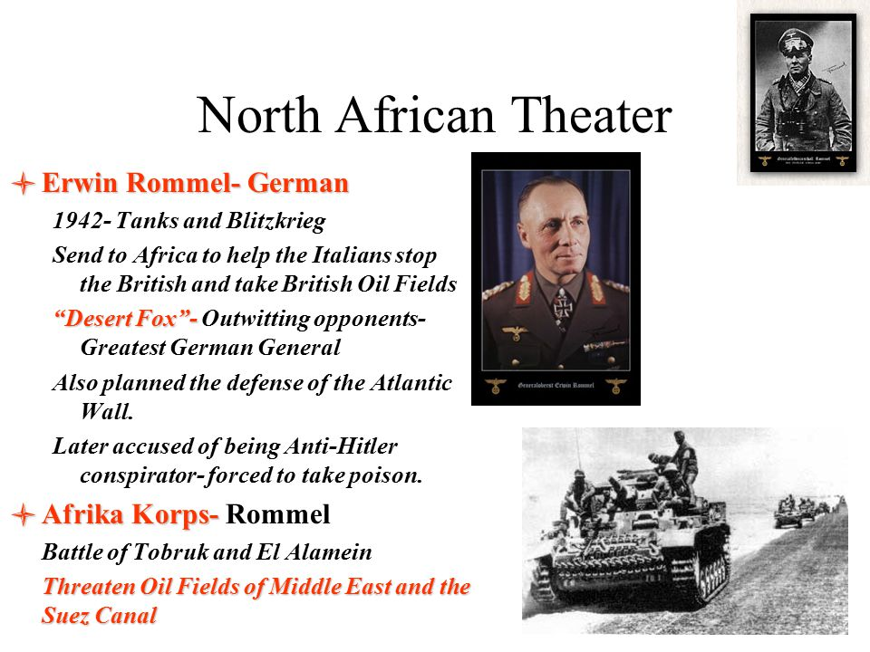 North African Theater Erwin Rommel- German Afrika Korps- Rommel
