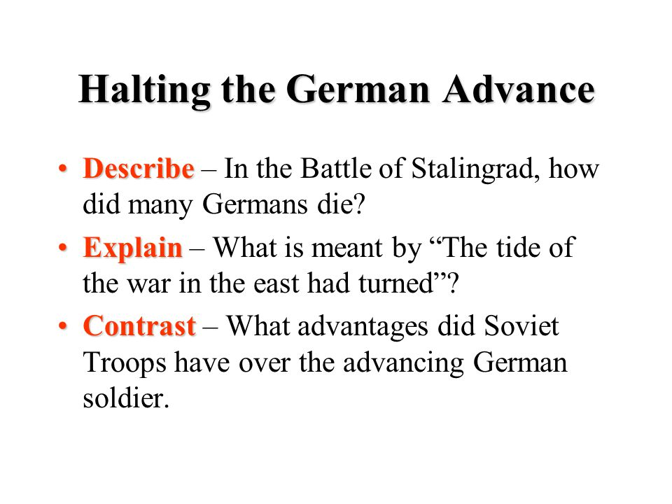 Halting the German Advance