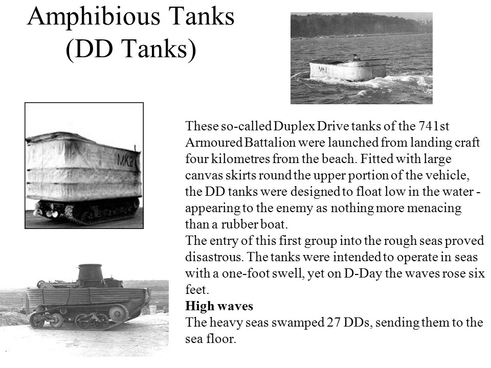 Amphibious Tanks (DD Tanks)