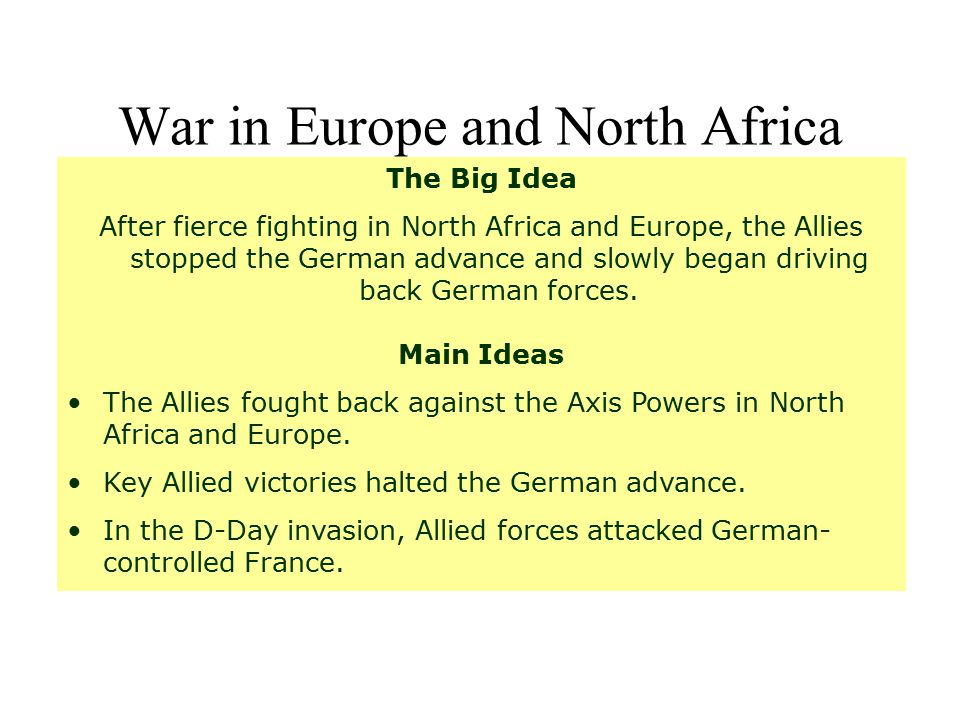 War in Europe and North Africa