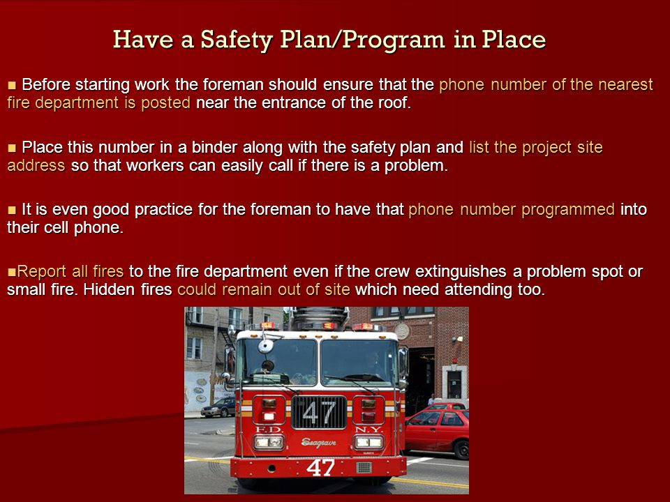 Have a Safety Plan/Program in Place