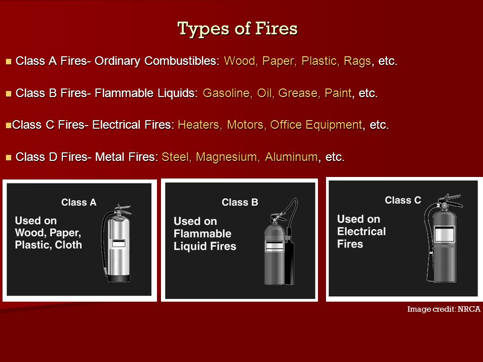Types of Fires Class A Fires- Ordinary Combustibles: Wood, Paper, Plastic, Rags, etc.