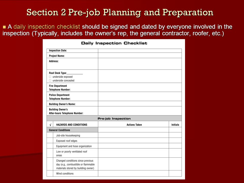 Section 2 Pre-job Planning and Preparation