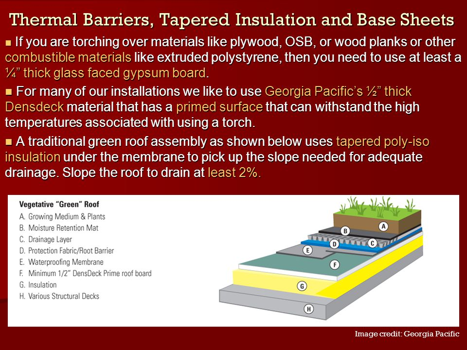 Thermal Barriers, Tapered Insulation and Base Sheets