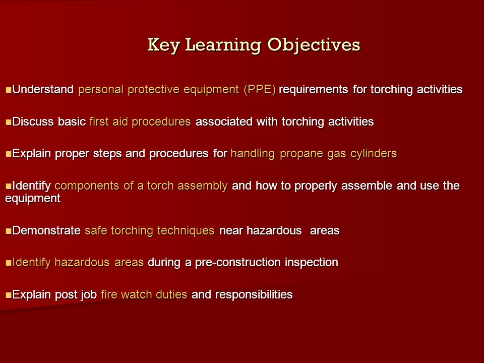 Key Learning Objectives